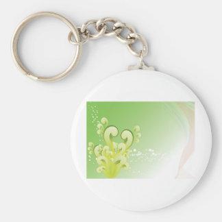Green Swirls Basic Round Button Keychain