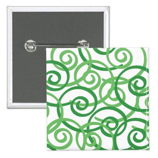Green Swirls Design Button