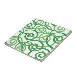Green Swirls Design Ceramic Tiles