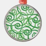 Green Swirls Design Christmas Ornament