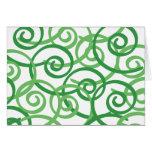 Green Swirls Design Greeting Card