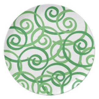Green Swirls Design Dinner Plates