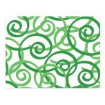 Green Swirls Design Post Cards