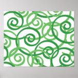 Green Swirls Design Poster