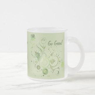 Green Swirls Frosted Glass Coffee Mug