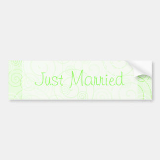 Green Swirls Just Married Bumper Sticker