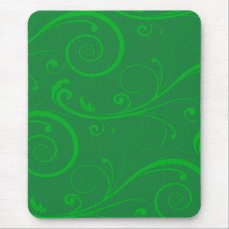 Green Swirls Mouse Pad