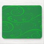 Green Swirls Mouse Pads