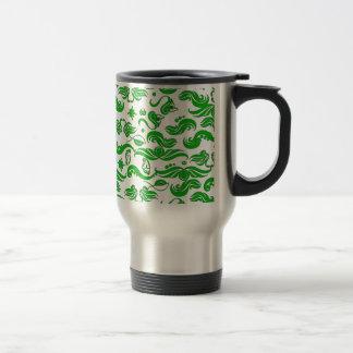 Green Swirls Pattern Travel Mug