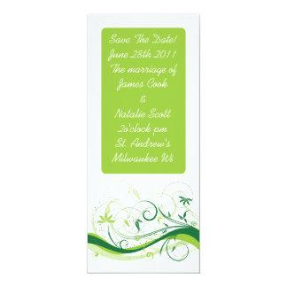"Green Swirls ""Save the Date"" invite 4"" X 9.25"" Invitation Card"