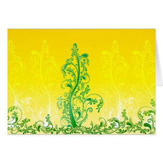 Green swirls tree floral ORNAMENT Card