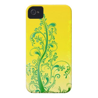 Green swirls tree floral ORNAMENT Iphone 4 Case-mate Case