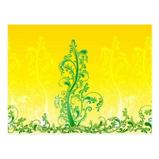 Green swirls tree floral ORNAMENT Postcard