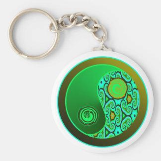 Green Swirls Yin Yang Keychain