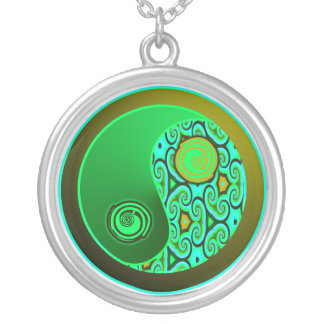 Green Swirls Yin Yang Necklace