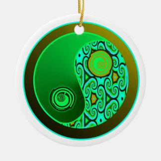 Green Swirls Yin Yang Ornament