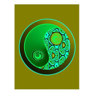 Green Swirls Yin Yang Postcard