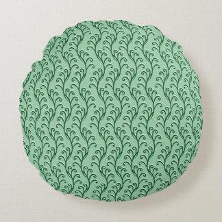 Green Swirly Vines Round Pillow