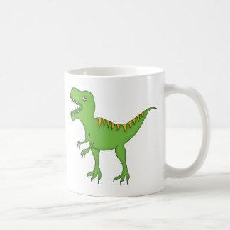 Green T-Rex Dinosaur+Personalize Child's Name Classic White Coffee Mug