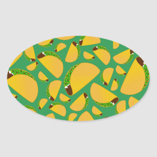 Green tacos oval sticker