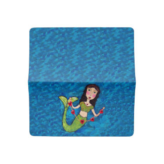Green Tail Folk Art Mermaid String of red hearts Checkbook Cover