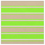 [ Thumbnail: Green, Tan, and Beige Colored Lines Pattern Fabric ]