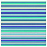 [ Thumbnail: Green, Tan, and Blue Striped/Lined Pattern Fabric ]
