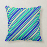 [ Thumbnail: Green, Tan, and Blue Striped/Lined Pattern Pillow ]