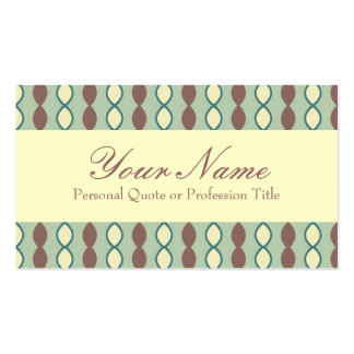 Green Tan and Brown Retro 70's Pattern Business Card