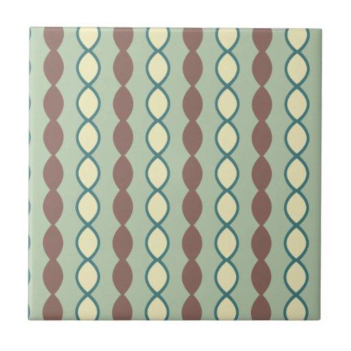 Green Tan And Brown Retro 70 39 S Pattern Tile Zazzle