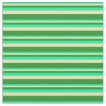 [ Thumbnail: Green, Tan, and Forest Green Pattern of Stripes Fabric ]