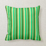 [ Thumbnail: Green, Tan, and Forest Green Pattern of Stripes Throw Pillow ]