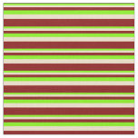 [ Thumbnail: Green, Tan, and Maroon Colored Striped Pattern Fabric ]