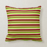 [ Thumbnail: Green, Tan, and Maroon Colored Striped Pattern Throw Pillow ]