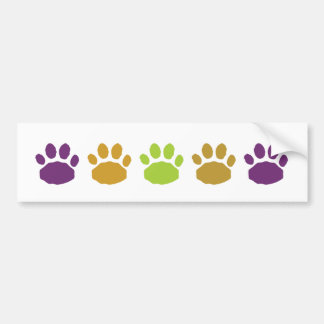 Green, Tan and Purple Animal Paw Prints Bumper Sticker