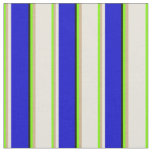 [ Thumbnail: Green, Tan, Beige, Blue & Black Colored Lines Fabric ]