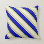 [ Thumbnail: Green, Tan, Beige, Blue & Black Colored Lines Throw Pillow ]