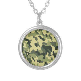 Green Tan Black Camouflage Pattern Background Silver Plated Necklace