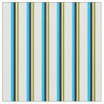 [ Thumbnail: Green, Tan, Black, Deep Sky Blue, and White Lines Fabric ]