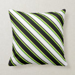 [ Thumbnail: Green, Tan, Black, White & Dark Slate Gray Colored Throw Pillow ]