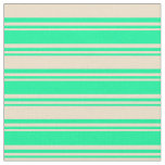 [ Thumbnail: Green & Tan Colored Lines/Stripes Pattern Fabric ]