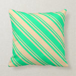 [ Thumbnail: Green & Tan Colored Lines/Stripes Pattern Pillow ]
