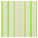 [ Thumbnail: Green & Tan Colored Stripes/Lines Pattern Fabric ]