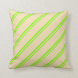 [ Thumbnail: Green & Tan Colored Stripes/Lines Pattern Pillow ]