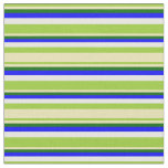 [ Thumbnail: Green, Tan, Dark Green, Blue & White Lines Fabric ]