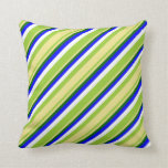 [ Thumbnail: Green, Tan, Dark Green, Blue & White Lines Pillow ]