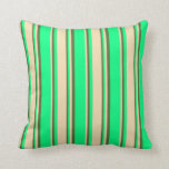 [ Thumbnail: Green, Tan & Dark Olive Green Colored Lines Pillow ]