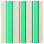 [ Thumbnail: Green, Tan & Dark Slate Gray Colored Stripes Fabric ]