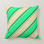 [ Thumbnail: Green, Tan & Dark Slate Gray Colored Stripes Throw Pillow ]
