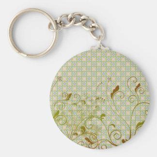 Green & Tan Floral Swirls on Green Pattern Basic Round Button Keychain